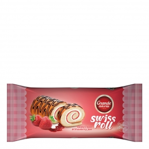 Swiss Roll filled with Vanilla cream and strawberry jam
